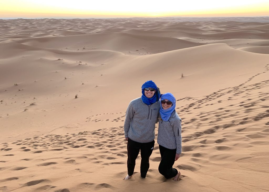 Sunset in the Sahara in Morocco