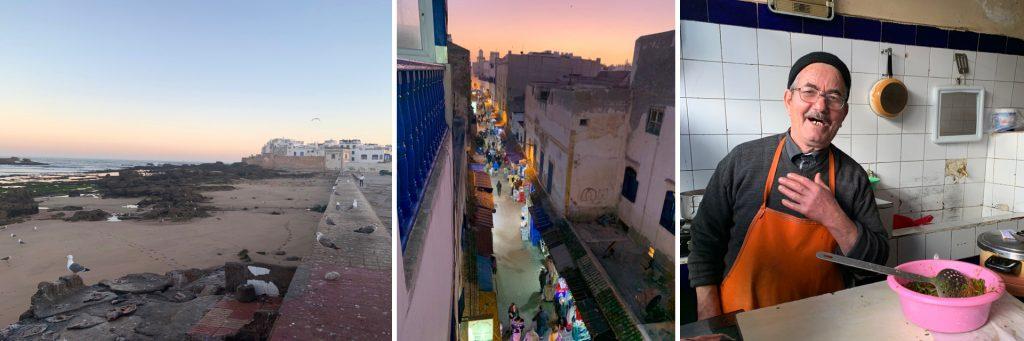 Essaouria Coastline (left), Essaouria Medina Views (center), Favorite Hole-in-the-Wall Tagine Restaurant (right)