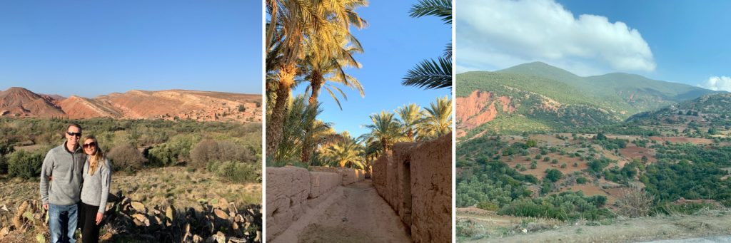 Driving Views (left & right), Oasis in Zagora (center)