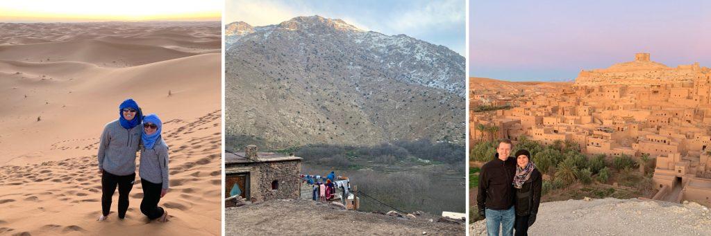Erg Chigaga Dunes (left), High Atlas Mountains (center), Ait-Ben-Haddou (right)