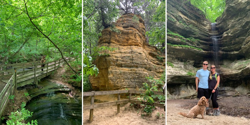 Sac Canyon (left) , Sandstone Rocks on the trail (center), St. Louis Canyon (right)